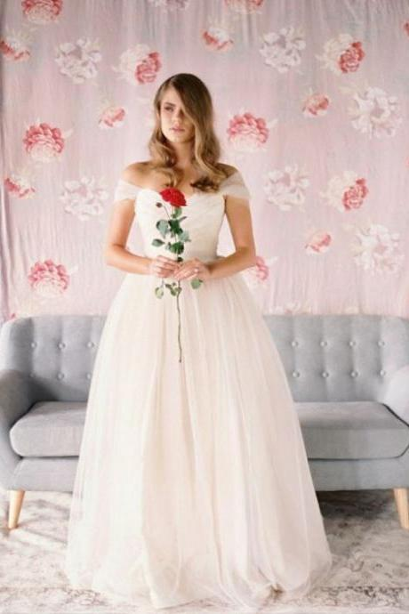 Gorgeous A-line Cap Sleeves Long Tulle Wedding Dress Bridal Gown ,Custom Made Evening Dress,W1430