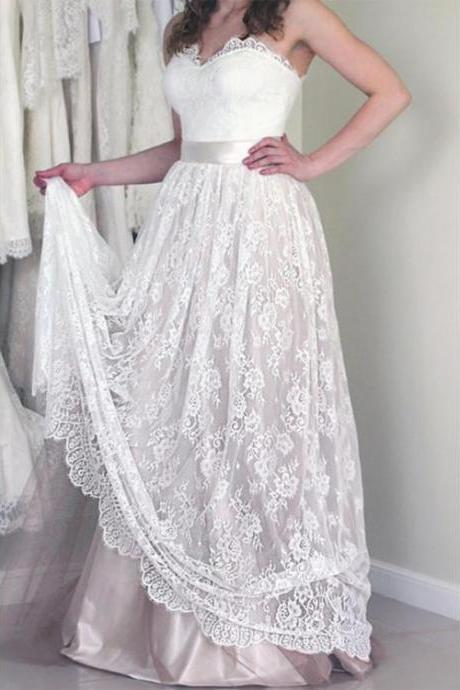Sweetheart Sleeveless Long White Lace A Line Wedding Dress with Belt,W1432