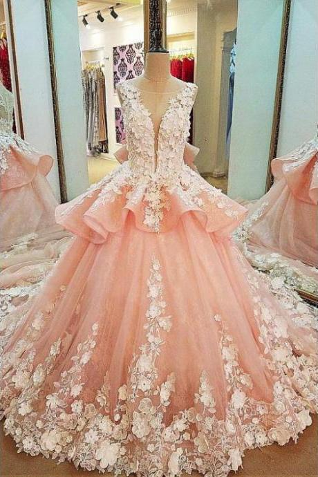 Tulle Lace Scoop Neckline Ball Gown Wedding Dress With Lace Appliques,Quinceanera Dresses,W1438
