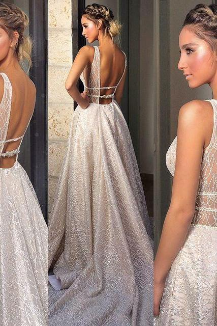 Deep V-Neck Prom Dresses, Sparkle Backless Vintage Prom Dresses,W1444