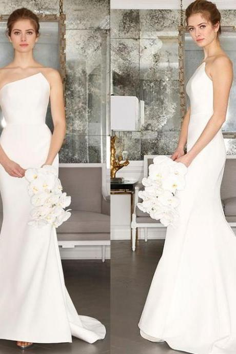 Charming Satin Wedding Dress, Simple Design Backless Mermaid Wedding Dress,W1447
