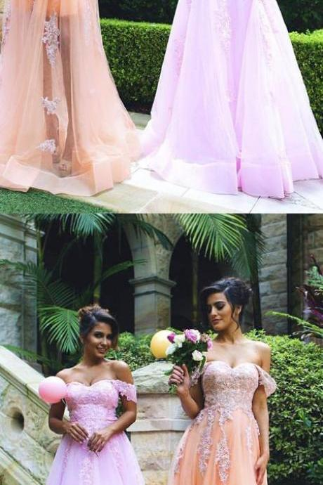 Trendy A-Line Off-the-Shoulder Long Tulle Prom/Bridesmaid Dress with Lace Appliques,P1591