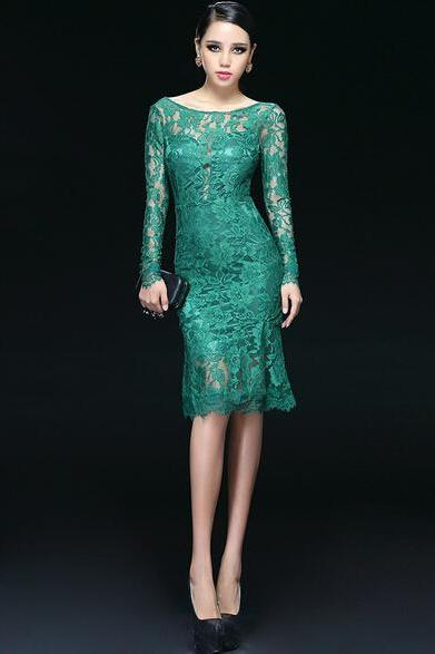 Short Cocktail Dresses,Lace Cocktail Dress, Green Cocktail Dress,Backless,Sheath Prom Dress ,Long Sleeve,Scoop Collar,L1610