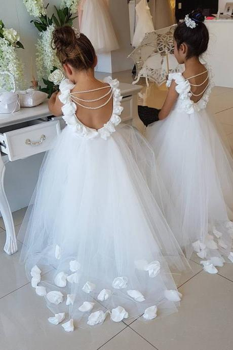 Opening Back White Tulle Flower Girls Dresses 2017 3D Flowers Peals Puffy First Communion Gowns For Girls Princess Pageant Dress,FG1611