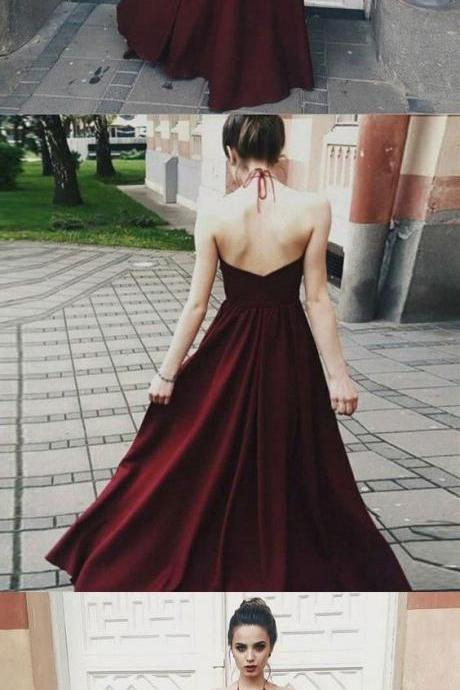 Romantic burgundy red halter top spaghetti neck tie v back dress,P1623