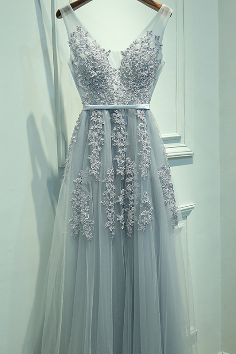 A-line, Prom Dresses,Tulle Lace Appliques,Bridesmaid Dresses,Floor Length Women Dresses,P1635