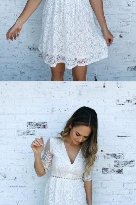 White Lace Short Homecoming Dress, V-Neck Half Sleeve Party Dress,L1646