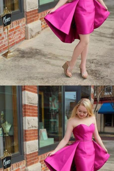 Sexy Sweetheart Fuchsia Satin Short Party Dress,P1647