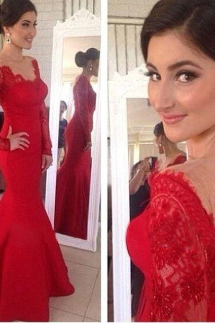 New Arrival Red Lace Long Sleeves Mermaid Prom Dress, V-neck Backless Long Prom Dresses,Open Back Evening Prom Gown,P1654