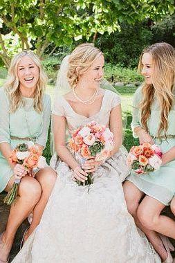 Simple Long Sleeves High Neck Knee Length Bridesmaid Dresses,Mint Chiffon Cheap Short Bridesmaid Dress,Bridesmaid Gowns,Mother Of The Bride Dress,Short Prom Dress,BD 1659