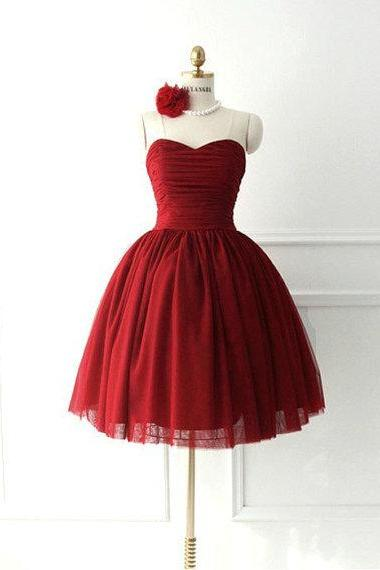 Simple Dark Red Tulle Sweetheart Short Prom Dress Ball Gown Burgundy Homecoming Dress Mini Length Party Gown Bridesmaid Dress Cocktail Dresses,H1660