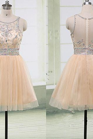 Heavy Rhinestones Crystal See Through Back Short Homecoming Dresses ,Light Champagme Tulle Short Prom Dress,Bodice Graduation Dress,Wedding Party Dress,Cocktail Dress,H1662