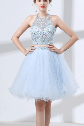 A-line Short Homecoming Dresses,Two Pieces Graduation Dresses,Light Blue Halter Party Dresses,H1672
