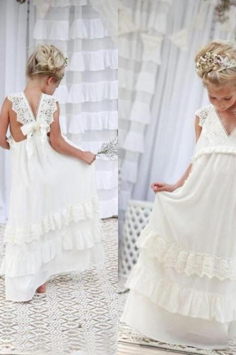 Adorable A-line White Long Boho Flower Girl Dress,FG1677