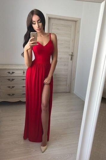 Nice Spaghetti Straps A-Line Prom Dresses, Chiffon Evening Dresses,V-Neck Prom Dresses Formal Gowns,P1678