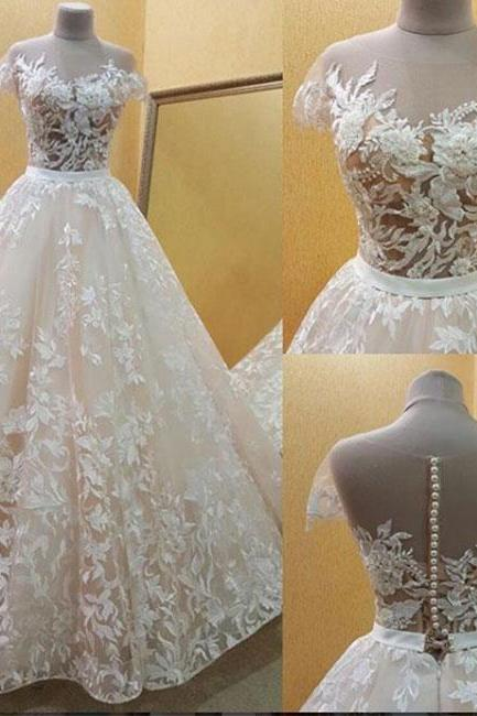 Champagne lace long prom dress, champagne evening dress,Wedding Dresses,Bridal Dresses,W1701