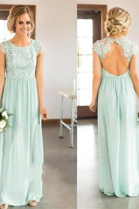 Marvelous Chiffon Scoop Neckline Cut-out A-line Bridesmaid Dresses,BD 1717