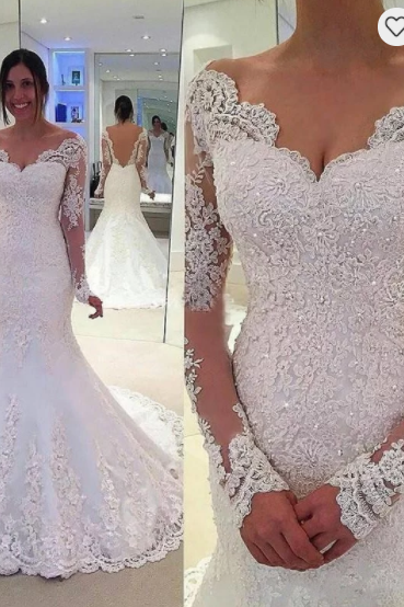 Trumpet/Mermaid V-neck Long Sleeves Lace Court Train Tulle Wedding Dresses,W1727