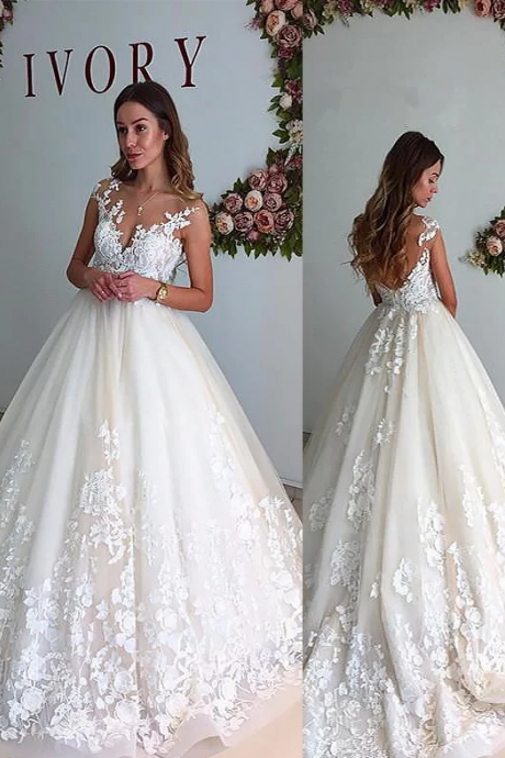 A-Line/Princess V-neck Court Train Tulle Sleeveless Wedding Dresses,W1728