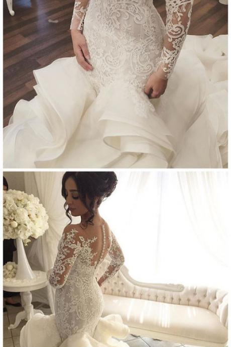 Vintage Wedding Dress with Sheer Long Sleeves, Mermaid Appliques Lace Tulle Long Bridal Gowns,W1734