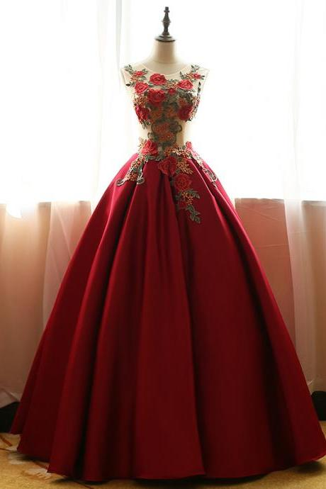 Modest Quinceanera Dress,Red Ball Gown,Fashion Prom Dress,Sexy Party Dress,Custom Made Evening Dress,P1738