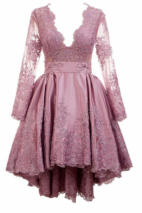 Pretty Tulle & Satin V-neck Neckline A-Line Hi-lo Homecoming Dress With Lace Appliques,H1742