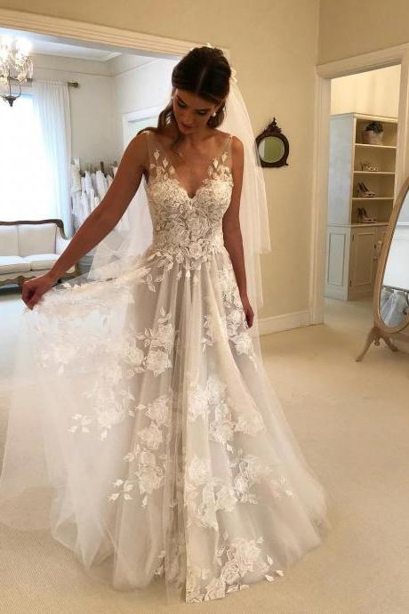 Lace Applique Ivory Beach Wedding Dresses V Neck Backless Wedding Dress,W1747