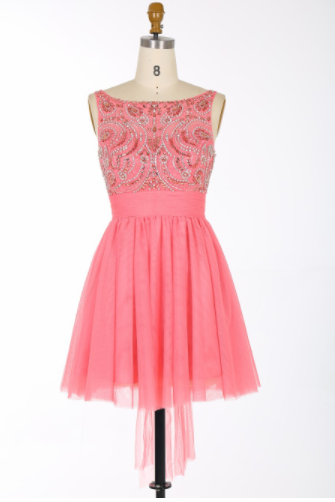 Sexy A-line Scoop Short Tulle Backless Coral Prom/Homecoming Dress With Beading Sashes,H1757