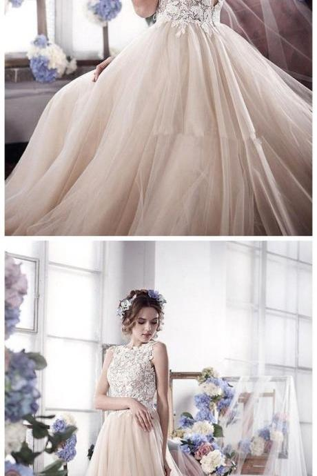 Sleeveless Romantic Tulle bridal dresses wedding gowns Vintage Appliques Wedding Dress,W1759