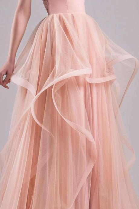 Blush Pink Prom Dresses,Ball Gown Prom Dress,Lace Prom Dress,Simple Prom Dress,Tulle Prom Dress,Simple Evening Gowns,Cheap Party Dress,Elegant Prom Dresses,Formal Gowns For Teens,P1768