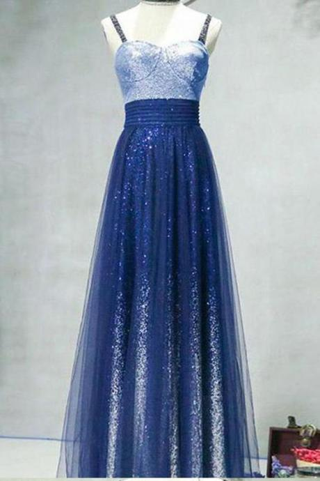 A Line Ombre Spaghetti Straps Tulle Blue Sequins Sweetheart Prom Homecoming Dress,P1811
