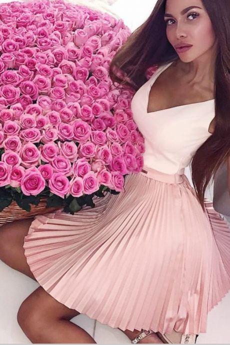 A-Line V-Neck Short Pink Homecoming Prom Dress with Pleats Beading,H1829