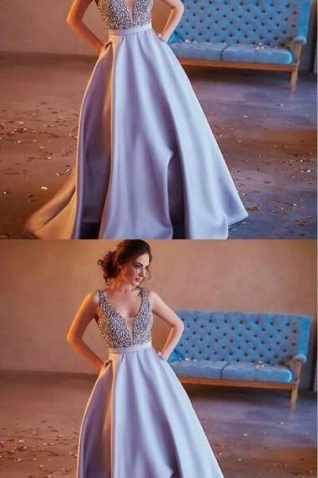 Stunning A-Line V-Beck Beaded Sequins Long Prom Dress,Lilac Satin Prom Gowns with Pockets,P1831