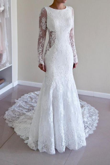 Custom Made Trumpet Mermaid Backless Long Sleeves Lace Wedding Dress ,W1842