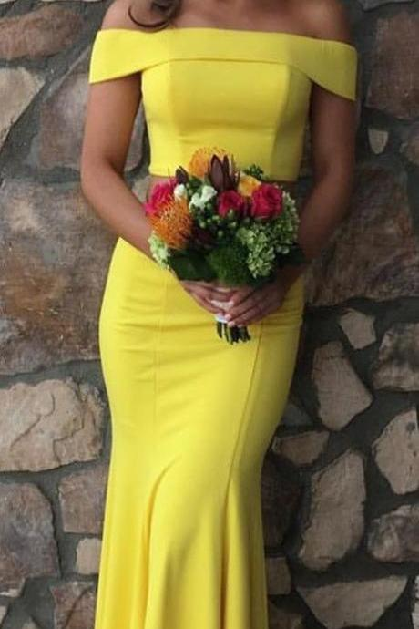 Two Piece Off the Shoulder Yellow Mermaid Long Prom Dress,P1845