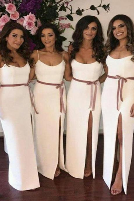 Bridesmaid Dresses White, Long Bridesmaid Dresses, 2018 Bridesmaid Dresses, Bridesmaid Dresses,B1859