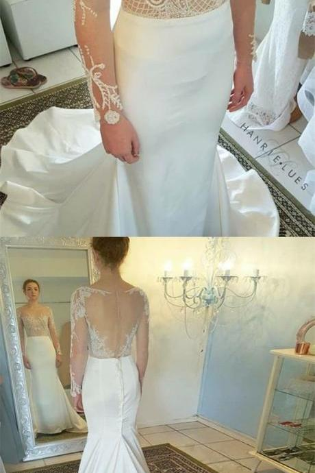 Mermaid Bateau Long Sleeves White Wedding Dress with Appliques,W1873