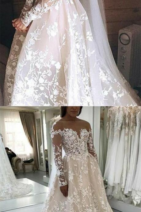 A-Line Bateau Backless Long Sleeves Light Champagne Lace Wedding Dress,W1874