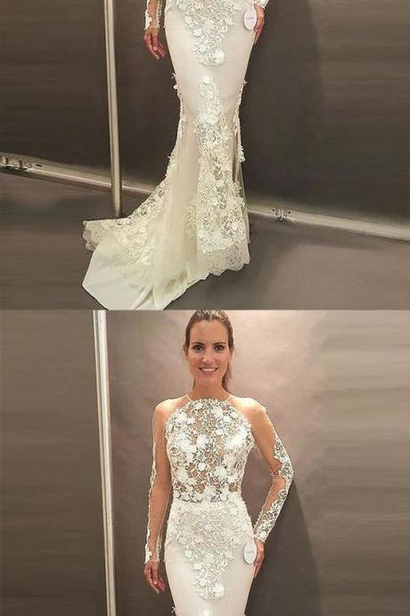 Mermaid Jewel Long Sleeves Sweep Train Open Back Wedding Dress with Appliques,W1878