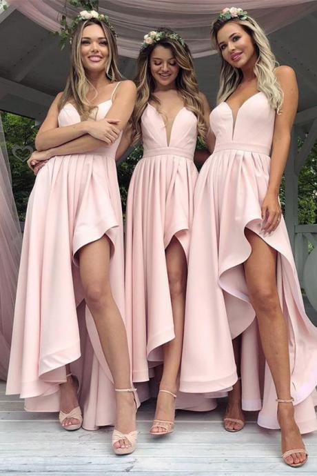 Spaghetti Straps Hi Low Bridesmaid Dresses for Wedding Party,B1884