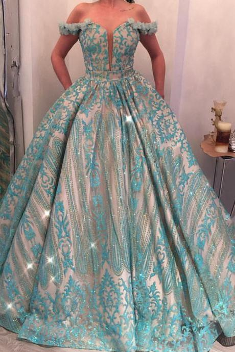 Off the Shoulder Prom Dress, Prom Dress Ball Gown, Elegant Prom Dress, Sequin Applique Prom Dress, Turquoise Blue Prom Dress, Prom Gown 2019, Arabic Style Prom Dress,P1907