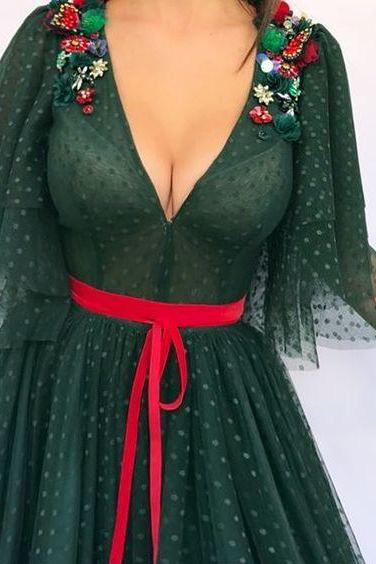 Dark Green Prom Dress, Muslim Prom Dress, Saudi Arabic Prom Dress, Prom Dresses 2018, Short Sleeve Prom Dress, Dotted Net Prom Dress, Robe De Soiree, Elegant Prom Dress,p1918
