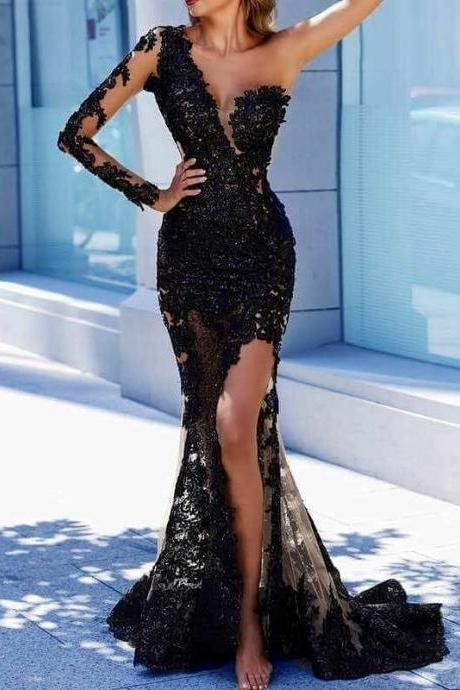 Black Evening Dress, One Shoulder Evening Dress, Lace Applique Evening Dress, Evening Dresses 2018, Robe De Soiree, Elegant Evening Dress, Sexy Evening Dress, Women Formal Dress,P1922