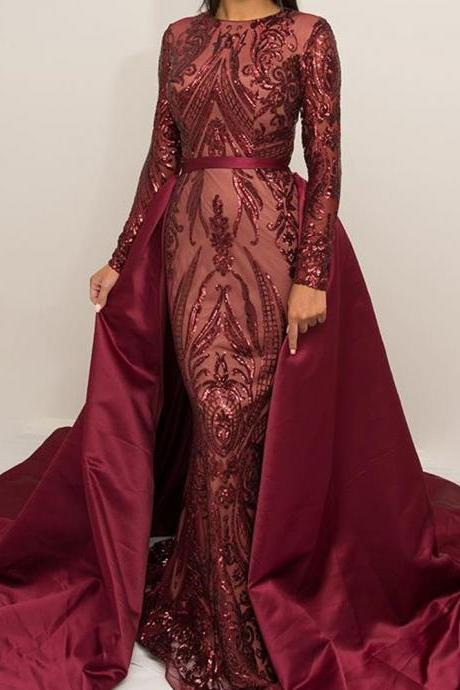 Lace prom dresses, detachable prom dresses, crew neck prom dresses, cheap prom dresses, long sleeve prom dresses, arabic prom dresses, burgundy prom dresses, vintage prom dresses, vintage evening dresses, lace prom dresses, detachable evening dresses, 2018 prom dresses,P1928