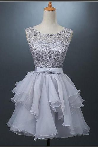 A-line Scoop Organza Short Prom Dress Juniors Homecoming Dresses,H1955