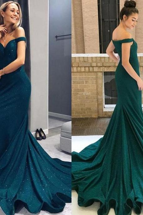 Mermaid Off-the-Shoulder Green Satin Long Prom Dress with Beading, ,P1963