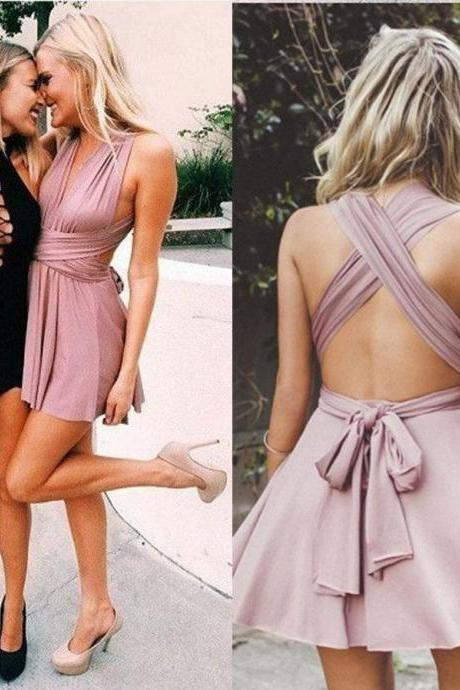 A-Line Deep V-Neck Criss-Cross Straps Short Blush Stretch Satin Homecoming Dress,H1964