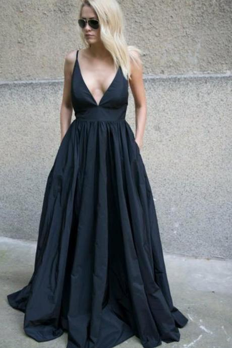 A-Line Spaghetti Straps Backless Black Taffeta Long Prom Dress with Pockets,P1966