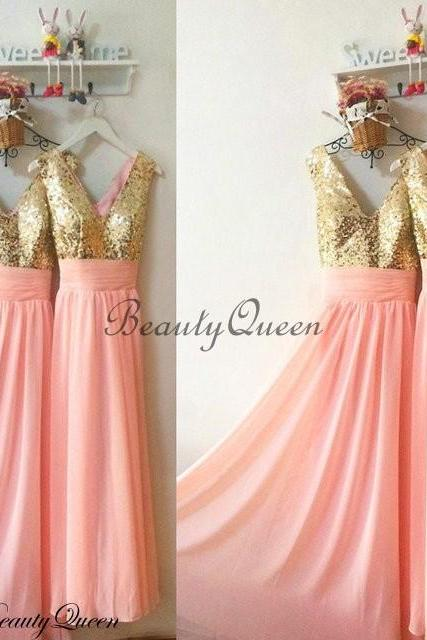 Coral Bridesmaid Dresses, Sequins Bridesmaid Dress,Gold Sequins Bridesmaid Dress, Maid of honor Dress,Long Chiffon Bridesmaid Dresses,V Neck Bridesmaid Dresses 2018,Prom Dress,Evening Dress,Party Dress,Formal Dress,B1979