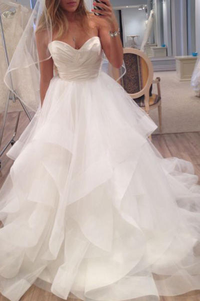 New Arrival Sleeveless Tulle Wedding Dress,Ruffles Bridal Dress,W2016